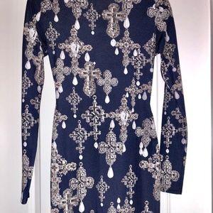 ASOS Blue Print Bodycon Dress